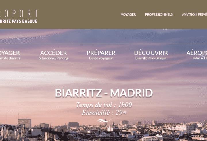 Nouveau site internet pour l'aéroport de Biarritz Pays Basque