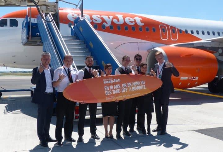 10 ans easyJet à l'aéroport Biarritz Pays Basque