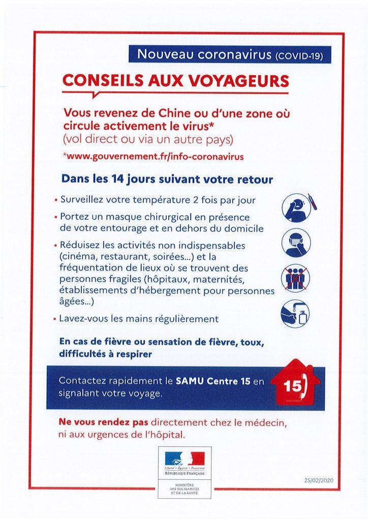 Coronavirus en France conseils aux voyageurs